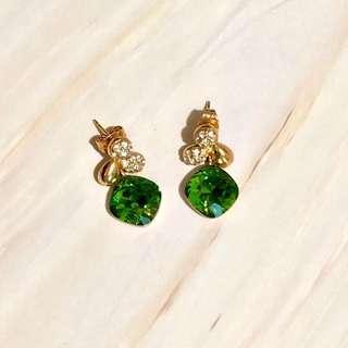 Emerald crystal green earrings gold tone 耳環 綠水晶