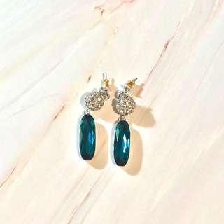 Aqua blue crystal earrings 藍水晶 耳環