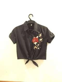Black cropped button up blouse