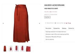 Haider Ackermann red silk skirt.