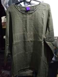 流蘇民族百貨 MAIAIKA墨綠色麻綿衫-90%新