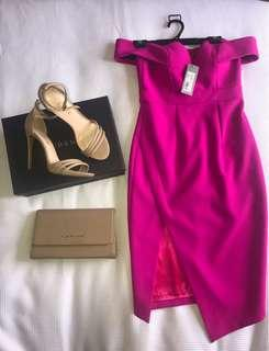 Sheike pink off the shoulder v cut dress