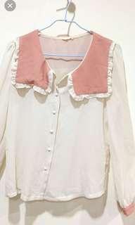 🚚 桃色配色雪紡襯衫