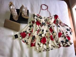 Red and white floral off the shoulder bell sleeve playsuit