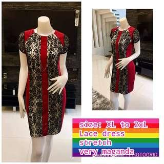 Plus size red lace dress