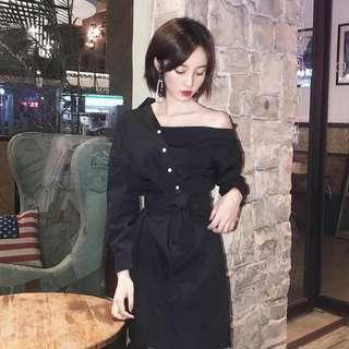 Black Side Off Shoulder Dress (READY STOCK)