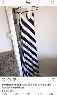 Navy blue and white stripe low back maxi dress