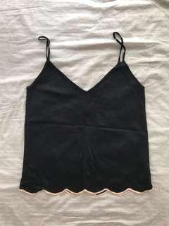 Zara Knit Black Scallop Top