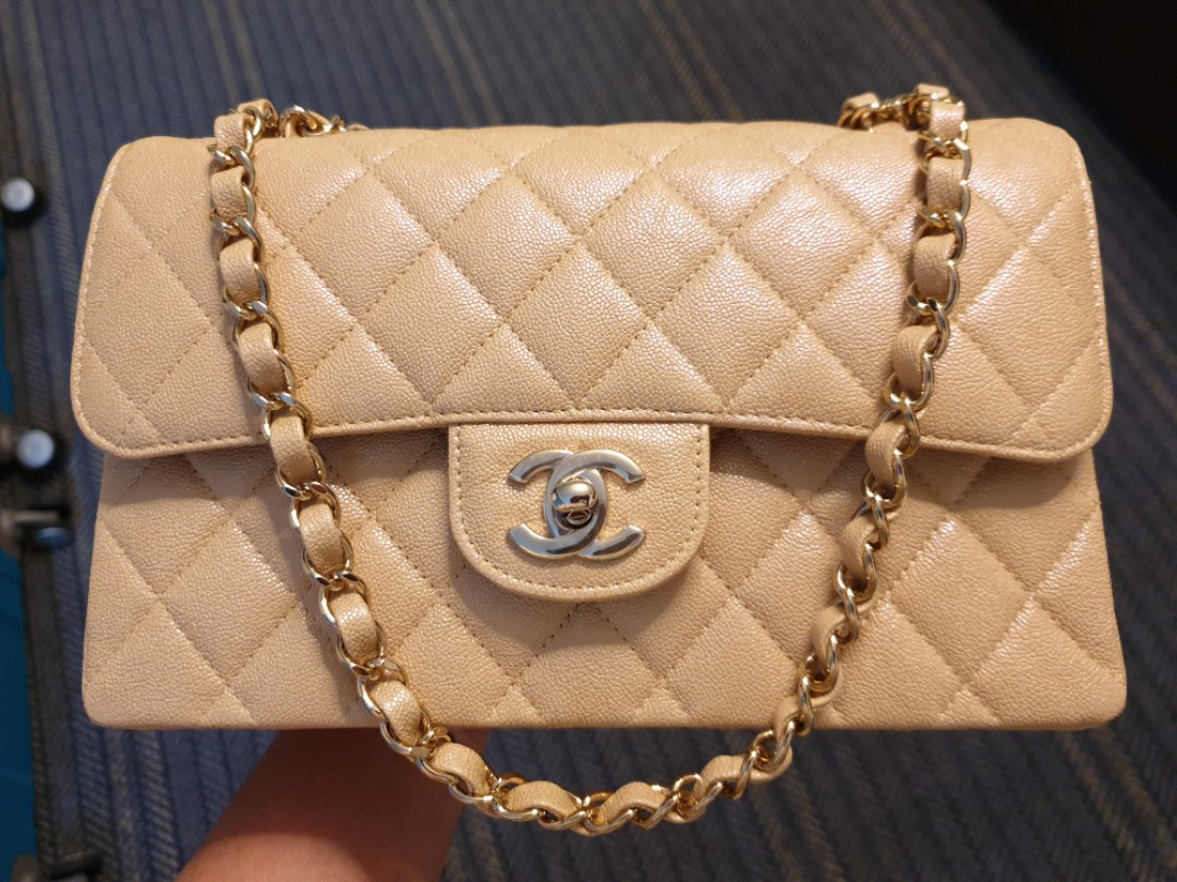 df26c56f86ae SOLD) Small Chanel Classic 2.55 19S Irridescent Beige Caviar GHW ...
