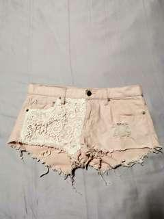 F21 Pastel Pink Lace Ripped Denim Shorts