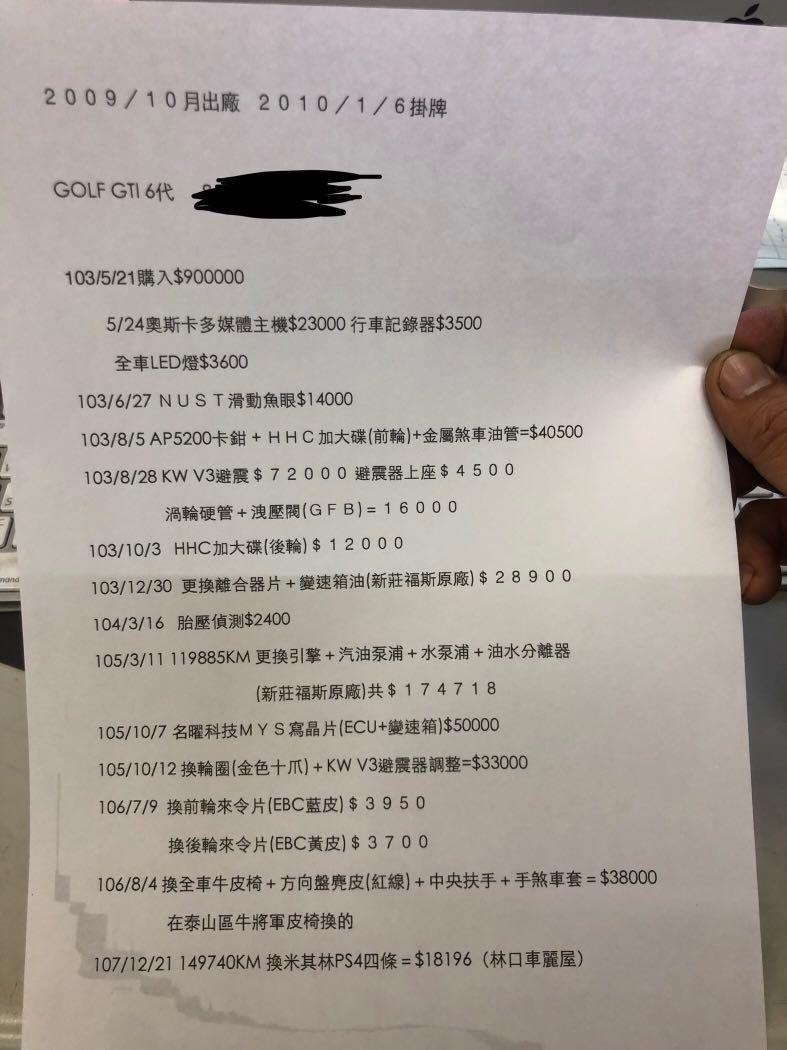 自售2009/10年式 GOLF GTI 6代 要賣$53萬