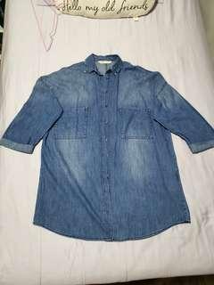 ZARA boyfriend oversized Denim Button Down Shirt Dress