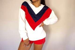 White Sweater with Blue and Red Stripe