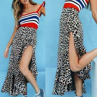 Leopard Maxi Skirt Summer Chiffon Ruffles