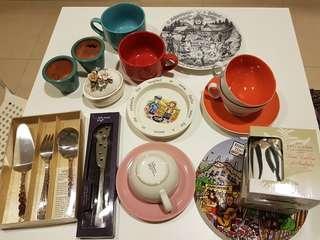 Kitchen Assorted. Plates. Teacups etc