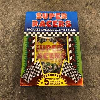 Super Racers Set: Includes Activity Book & 5 Fast Race Cars
