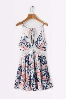 Lily Rosie Girl Floral Summer Beach Sexy Bareback Dress