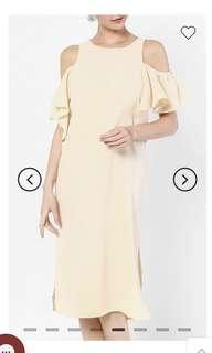 Cut out shoulder dress in Nude colour