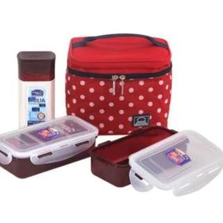 Insulated Red Lunch Bag Set