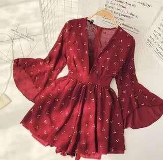 渡假風櫻桃連身褲裙
