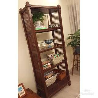 Teak Open Shelf / Wooden Bookshelf / Kitchen Storage