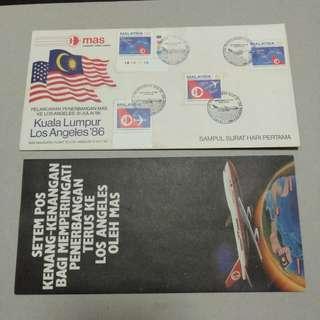 [SOLD] Malaysia MAS Kuala Lumpur Los Angeles 1986 inaugural flight FDC.
