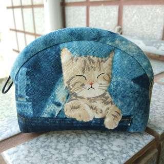 手工拼布~可愛貓咪手作零錢包/小物包