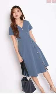 🚚 Topazette Ruth Buttoned Dress in Steel Blue