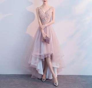 Delicate Pink Lacey Beads Floral Long Dinner Dress