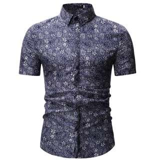 Summer New Casual short sleeved flowers fashion shirt.