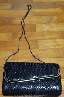 Ladies black clutch, sling bag
