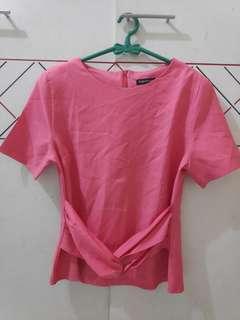 Baju kantor Blouse Pink bahan tebal