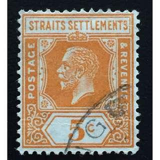 Malaya Straits Settlements 1922 KGV 5c Used MSCA Die II SG#225c Q158