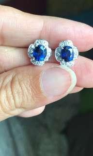 Natural Unheat Burma sapphire earring with NGI cert