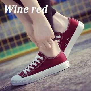 #Sale~Canvas Sneaker Wine red Shoes