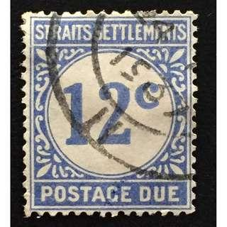 Malaya Straits Settlements 1924 Postage Due 12c Used SG#D6 Q161