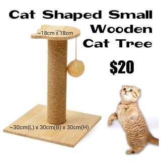 Cat Head Small Wooden Cat Tree
