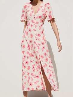 Dress Zara Floral Bunga-Bunga Putih Pink Summer Mididress