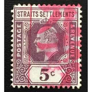 Malaya Straits Settlements 1906 KE VII 5c MCCA Used SG#130 Q152