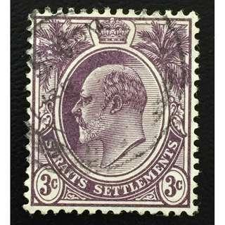 Malaya Straits Settlements 1908 KE VII 3c MCCA Used SG#128b Q153