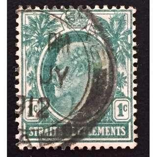 Malaya Straits Settlements 1910 KE VII 1c MCCA Used SG#127b Q154