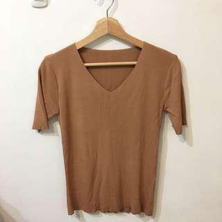 🚚 V領針織上衣(粉橘色)