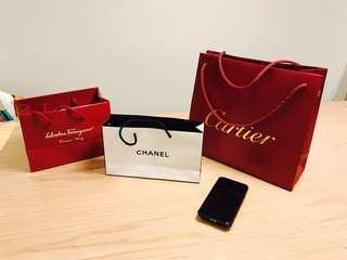 名牌紙袋 $10個 $20三個 Chanel Cartier Ferragamo