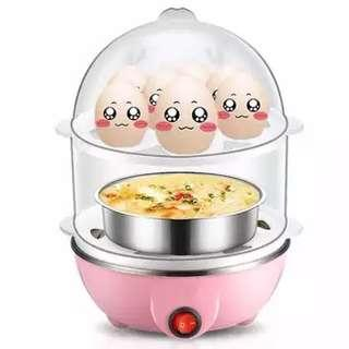 2 Tier Electric Egg Cooker Steamer Poacher Egg Boiler
