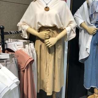 🚚 卡其綁帶伸縮長裙