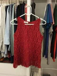 Hollyhoque Red Lace Top in Size M