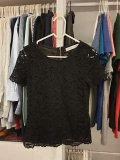 Love & Bravery Black Lace Top with black inner lining