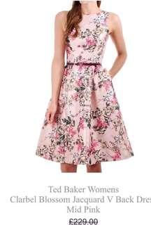 Ted Baker Blossom Jacquard V Back Dress Mid Pink 全新 真