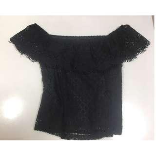 Black lace offshoulder top #endgameyourexcess