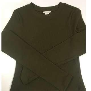 H&M Navy green Boat-necked jersey top